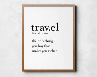 Travel definition, Definition prints, Travel poster, Gift for travellers, Travel wall art, Travel Decor, Word definition art, Printables