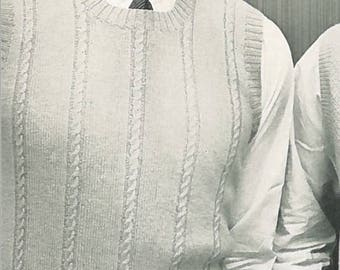 Vintage Men's Cable Sweater Vest Knitting Pattern PDF 1954