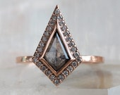 Geometric Black Diamond Engagement Ring with Pave Halo