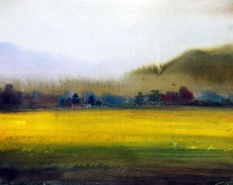 Corn Field and Foggy Mountain - Original watercolor painting on paper , watercolor landscape,landscape painting,corn field, watercolor