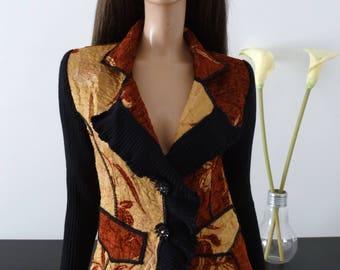 FINETTE cardigan jacket size 2 new / Burgundy Red Black