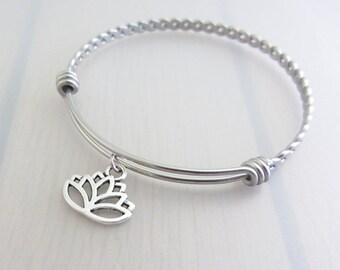 Lotus Flower Charm Stainless Steel Bangle, Silver Lotus Charm Bracelet, Flower Bangle, Stackable Bracelet, Gardeners Gift, Flower Gift