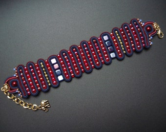 Red-blue soutache/soutasz handmade BRACELET Arabië
