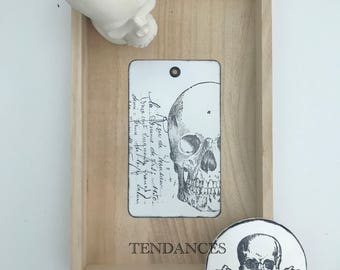 Metal steampunk xl tag & antique writing 12 x 7 cm