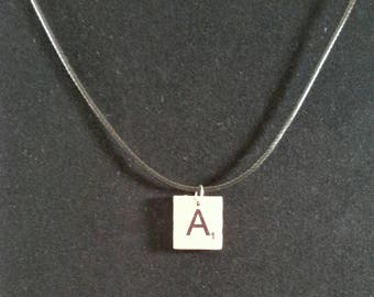 Scrabble Tile Initial and Black Leather Necklace