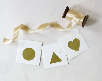 "Gold Foil Large Stickers - 1.5"" - 36 pc - Circle / Triangle / Heart"