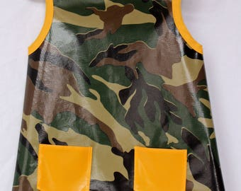 Child's Art Smock in Camouflage and Yellow