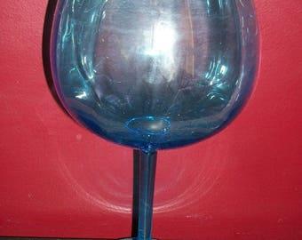 Vintage Blue Glass Compote Tall Stem Oversize Goblet