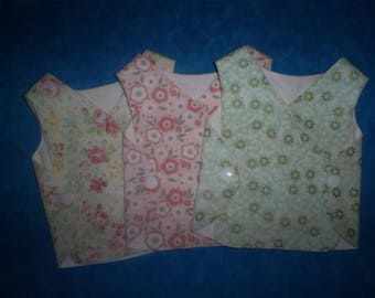 Micro Preemie Baby 1-3 lbs. Girl Set of 3 NICU gowns.