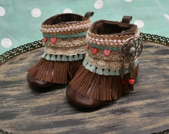 Soft Sole Boho Boots...Dream Catcher Boho Boots...Baby Boots...Baby Girl Boots...Turquoise and Coral...Gypsie Boots...Cowgirl Boho Boots