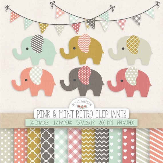Elephant Clipart Baby Shower Nursery Clip Art Amp Digital