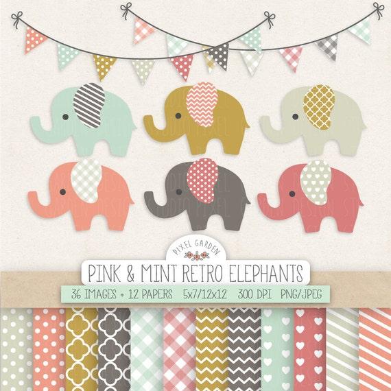 elephant clipart  baby shower nursery clip art  u0026 digital