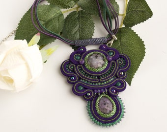 Handmade soutache pendant, casual purple gemstone necklace, statement soutache jewellery gift for mom or wife, leather thongs necklace
