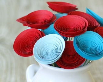 Red and Aqua Bouquet made with Medium-size Paper Flowers