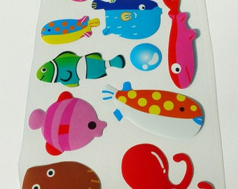 sheet of stickers stickers whale shark Ray fish