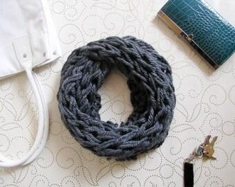 Dark Gray Chunky Knit Infinity Scarf, Cowl