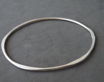 Sterling Silver Stacking Bangle Minimalist Hammered Bracelet by SteamyLab