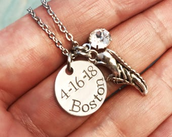 Custom Runner Jewelry ~ Marathon Necklace ~ Personalized ~ Hand Stamped ~ Pewter Shoe Charm ~ Boston ~ Affirmation ~ Motivation ~ Fitness