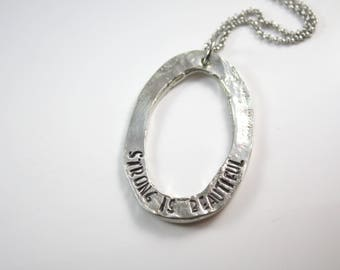 Strong Is Beautiful - Inspiration - Inspirational Necklace - Workout Partner Gift - Motivational - Fitness - Weight Loss - Strength