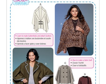 McCall's Sewing Pattern M7664 Misses' Capes and Belt with Closure Options