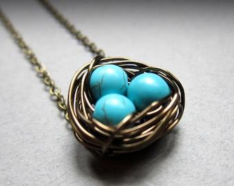 Nisten - Robins Ei blaue Vögel nisten Damen Schmuck, Halskette, Muttertag Geschenk, Draht gewickelt, Perlen, symbolische, Kinder, Mama, blaugrün