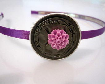 Nespresso Headband Decorated With a Flower Made From Upcycled Capsules in Purple & Moss Green