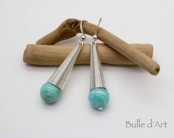 Amazonite stones cone earrings
