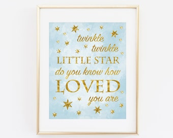 Baby Shower Boy, Twinkle twinkle little star do you know how loved you are, Baby Shower Decoration, Blue Gold Baby Shower Printable Baby boy
