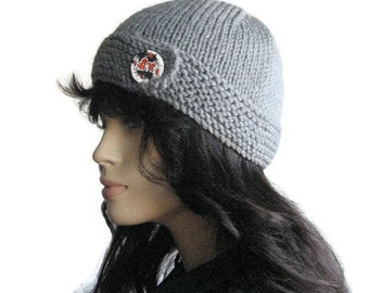Silver Grey Hat Button Tab Hat, Knit Beanie, Light Grey Beanie, The Clara Hat, Vegan Beanie, Hand Knit Hat, Knit Vegan Beanie