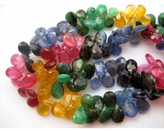 Multi Gemstone, Emerald Beads, Sapphire Beads, Ruby Beads,  Faceted Pear Beads, 5x7mm To 4x5mm Each, 75 Pieces Approx, 7 Inch Half Strand