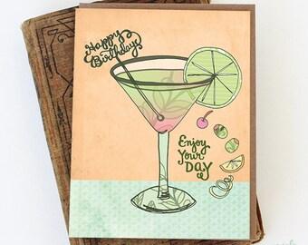 Martini Birthday Card - happy birthday drink card, happy birthday card