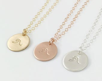 Wave Disc Necklace, Dainty Gold Disc Necklace, Waves Surfer Necklace, Beach Lover Necklace, Nautical Necklace, Rose Gold, Sterling Silver