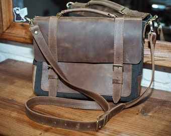Canvas leather messenger bag for men