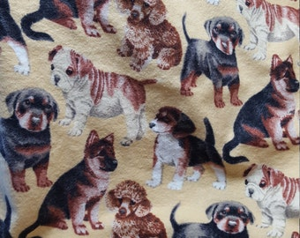 Lap Robe Throw Wheelchair Blanket Dogs Pale Yellow Flannel Reversible Same Print