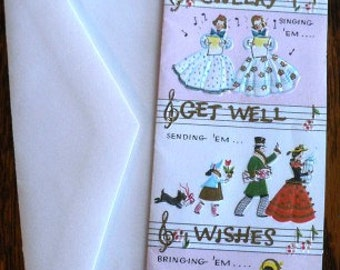 vintage cards ... CHEERY GETWELL WISHES retro Card w envelope ...