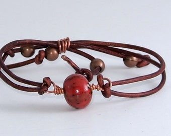 Red and Copper Leather Bracelet