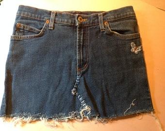 DENIM Re Worked MINI SKIRT 90's Earl Jeans Blue Jean Vintage