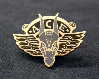 Ace   Hard Enamel Dragon Pin   Black Gold Grey Pin Badge Lapel Brooch Gift
