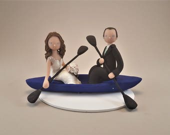 Bride & Groom on a Kayak Personalized Wedding Cake Topper