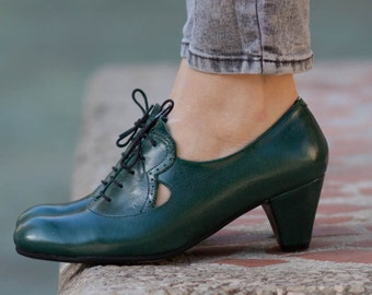 Leather Shoes, Leather Pumps, Dance Shoes, Heeled Leather Pumps, High Heel Shoes, Noa , Free Shipping