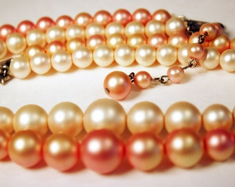 Pink Pearl Necklace, Double Strand, Graduated, Faux, Pearls, Dark Pink, Pink, Princess, Classic, Pink Pearl Necklace, Pearls, Basic