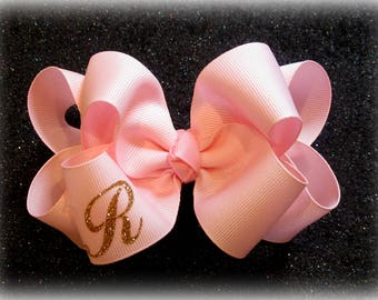 Monogram Hair Bow, Initial hair bow, Monogrammed Bows, Girls Bows, Boutique Hairbows, Double Layer Hair Bow, Personalized Hair Bows, Wedding