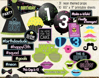 Photo Booth Props, HAPPY 13TH BIRTHDAY, boy, teen birthday party, glow, neon, black light, printable sheets, instant download, diy
