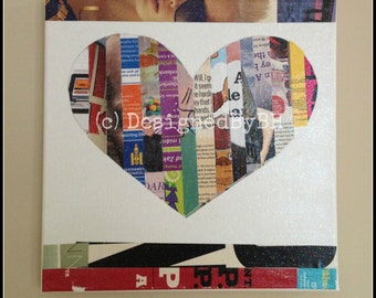 Heart Shaped Magazine Strip Art on Canvas - 12in x 12in