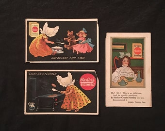 Junk Drawer Lot of Three 1890's Hecker-Jones-Jewell Milling Company TRADE CARDS - Heckers' Cream Hominy - Heckers' Buckwheat