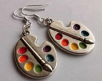Palette Earrings Silver Earrings Artist Earrings Wonderful Silver Bright Artist Palette Earrings