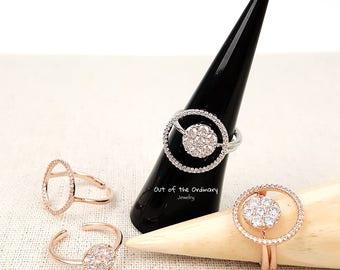 CZ Diamond Round Rings 2pcs Set