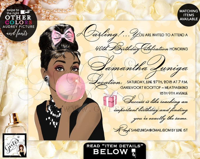 "Audrey Hepburn Inspired Invitations, 40th birthday invitation, breakfast at pink and gold African American Printable, Digital, 7x5"" Gvites"