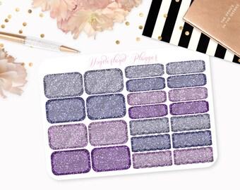 Purple Glitter Half Box, Quarter Box & Scallop Box Designs // Perfect for Erin Condren Vertical Life Planner