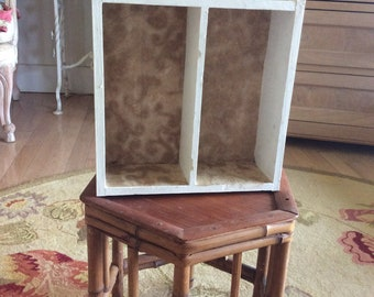 Antique Vintage Wood Cubby Shelf with Old Wallpaper, Solid Sturdy!
